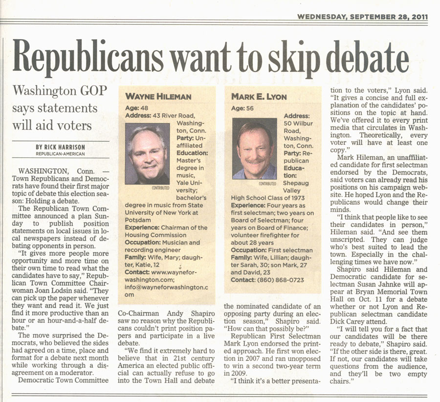 September 2011 - Waterbury Republican Debate Article